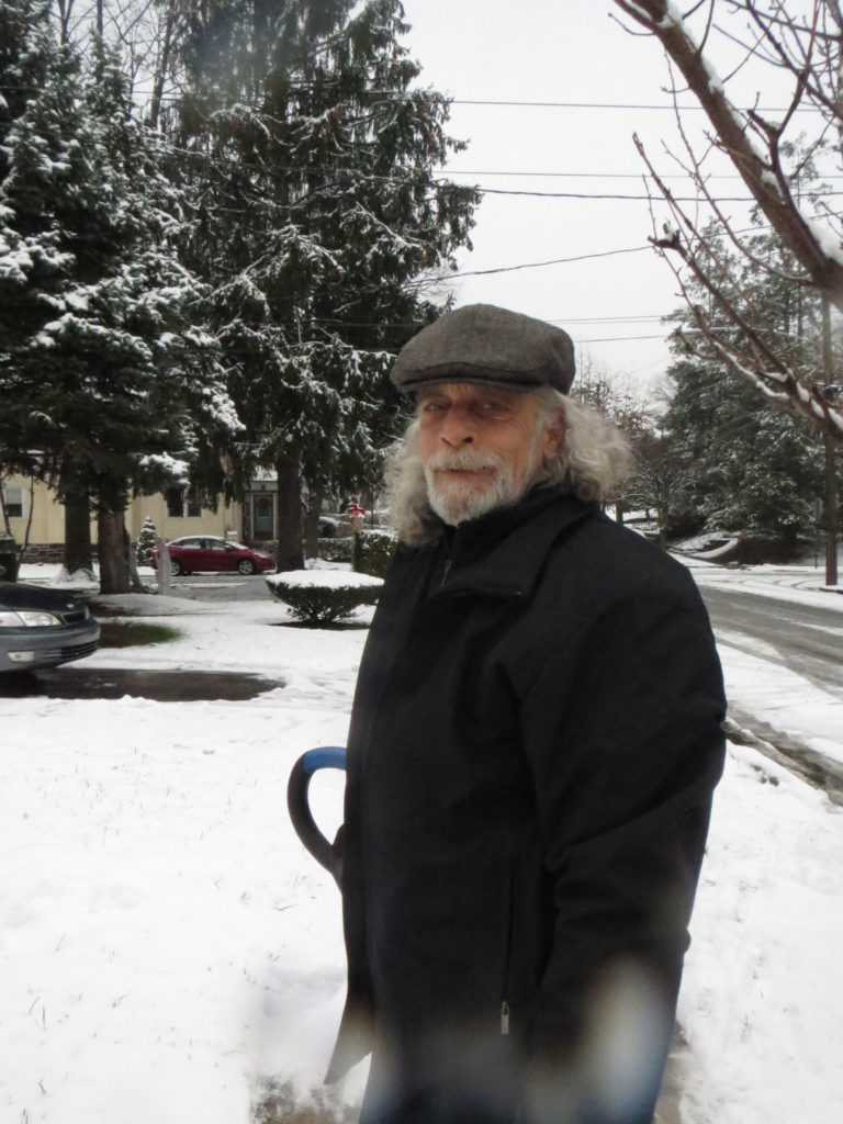 Dad shovels the walk