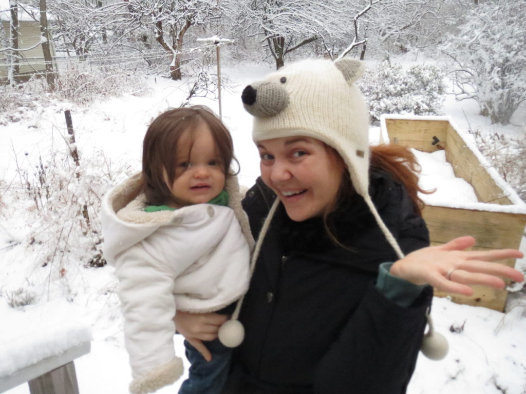 with my niece Lydia in the snow