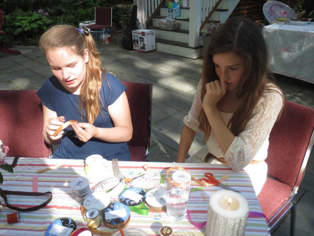 Lia and Fiona stitching