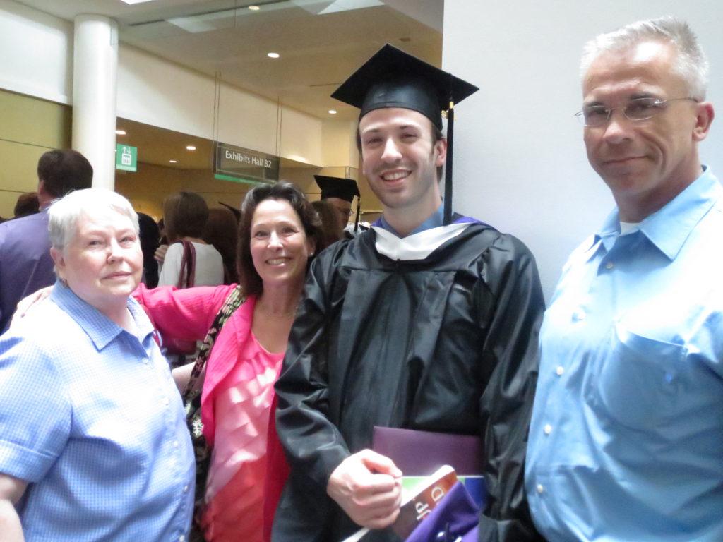 David with his parents and Nana