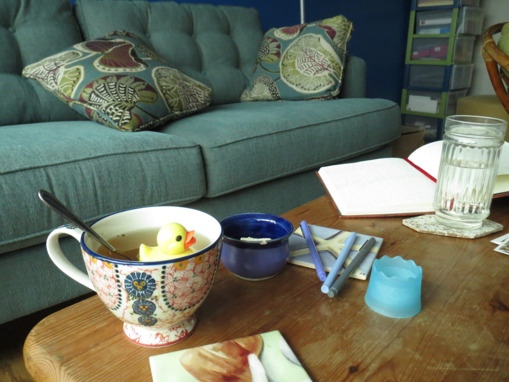 cup o tea, writing implements