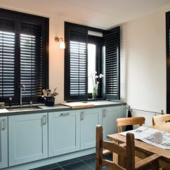 Kitchen Window Shutters Modern Pulls For Cabinets Liverpool Black Hannahs Blinds