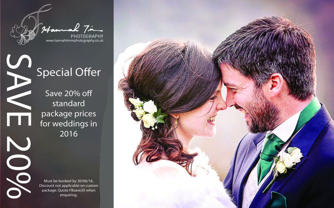 20% wedding photography discount for 2016 weddings