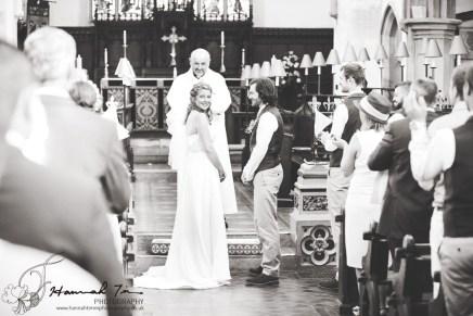 Bride looking at congregation