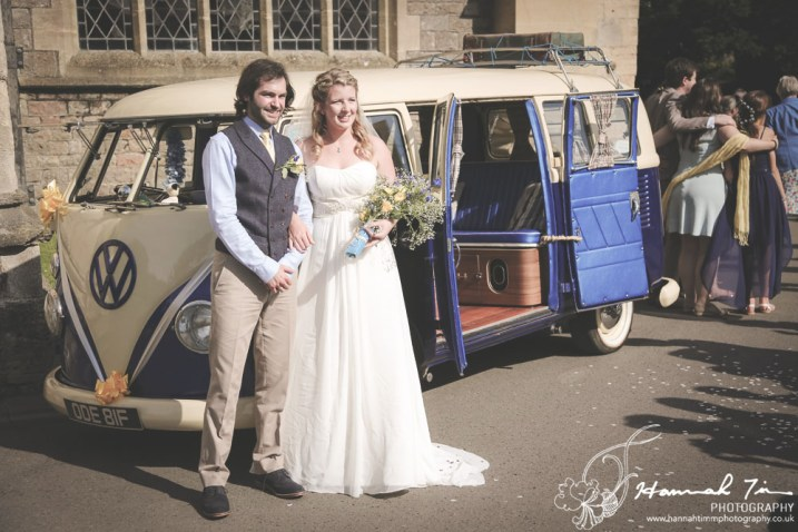 Bride & Groom with VW camper