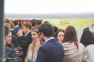 Wedding guests in marquee