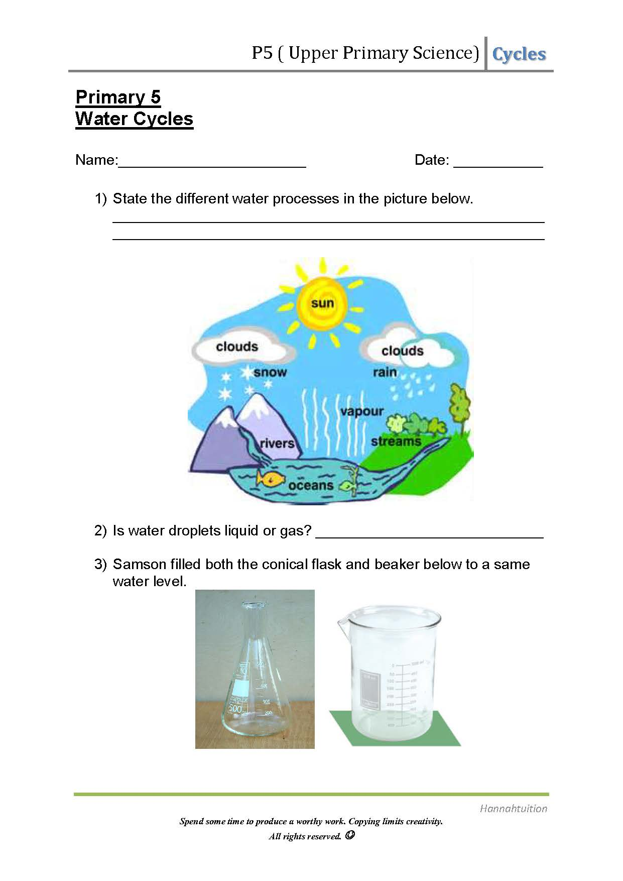 Primary 5 Science Water Cycles