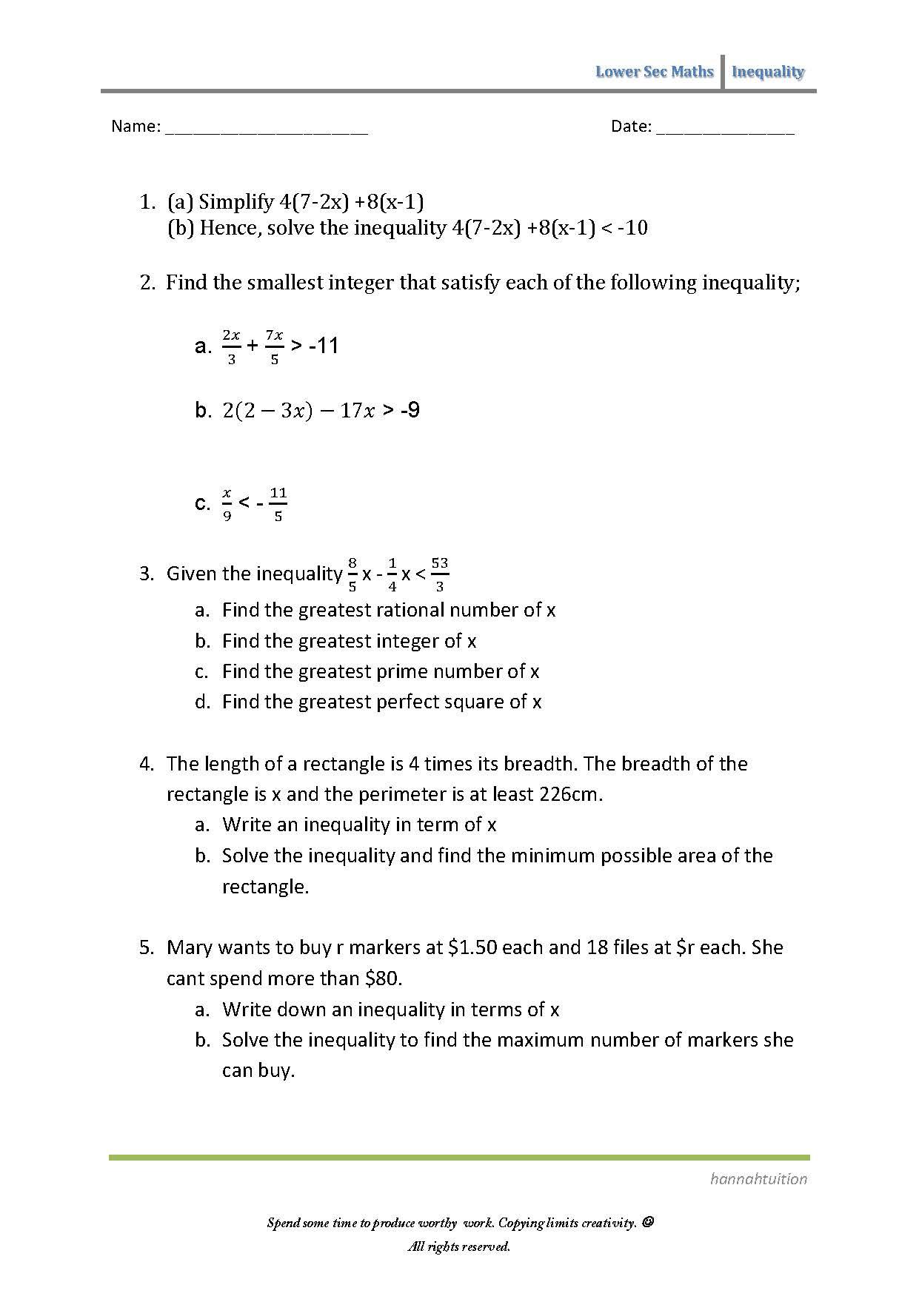 Sec 1 Maths Inequalities