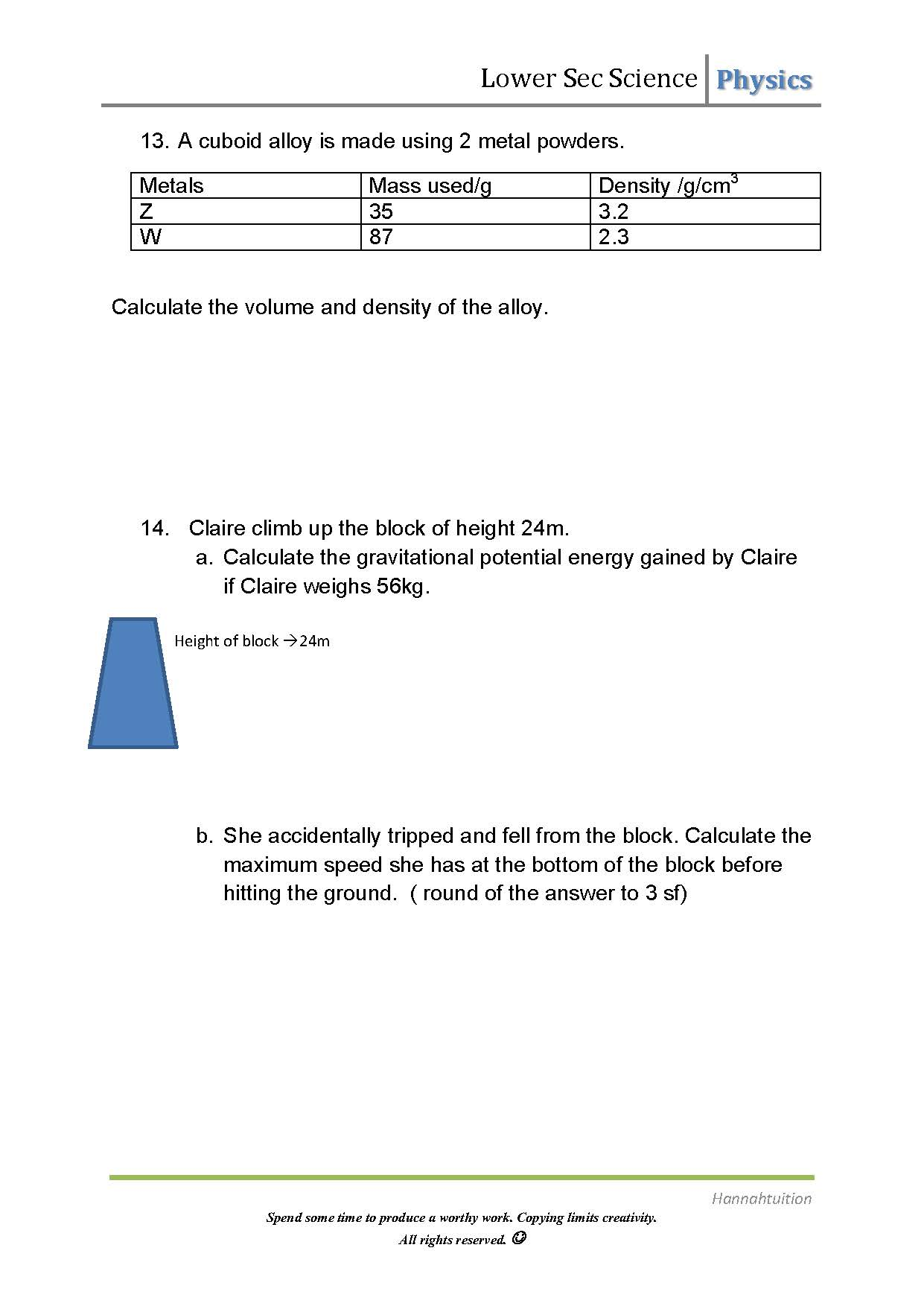 Sec 1 Science Physics Worksheet