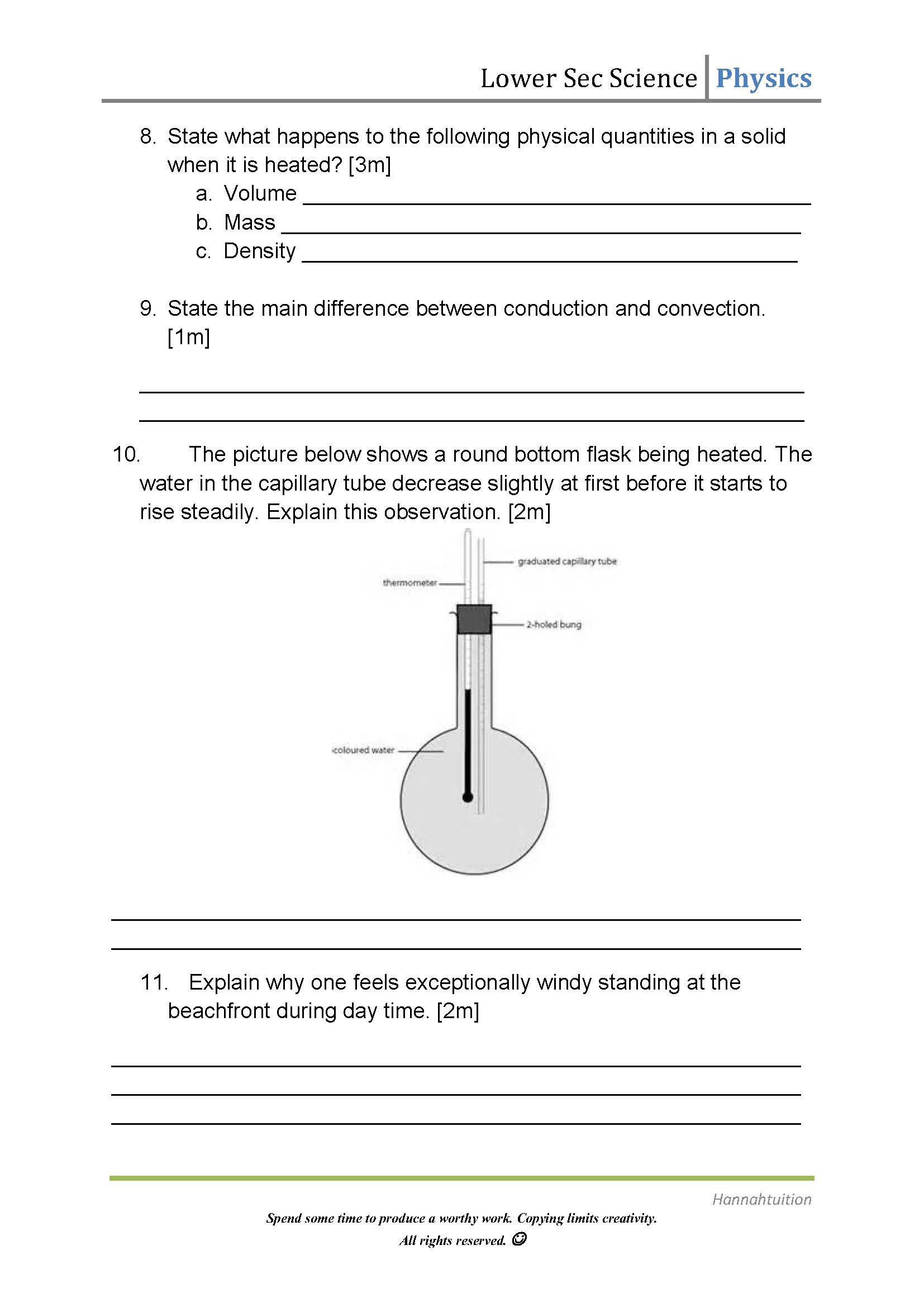 Physics Heat Transfer Lower Sec Worksheet