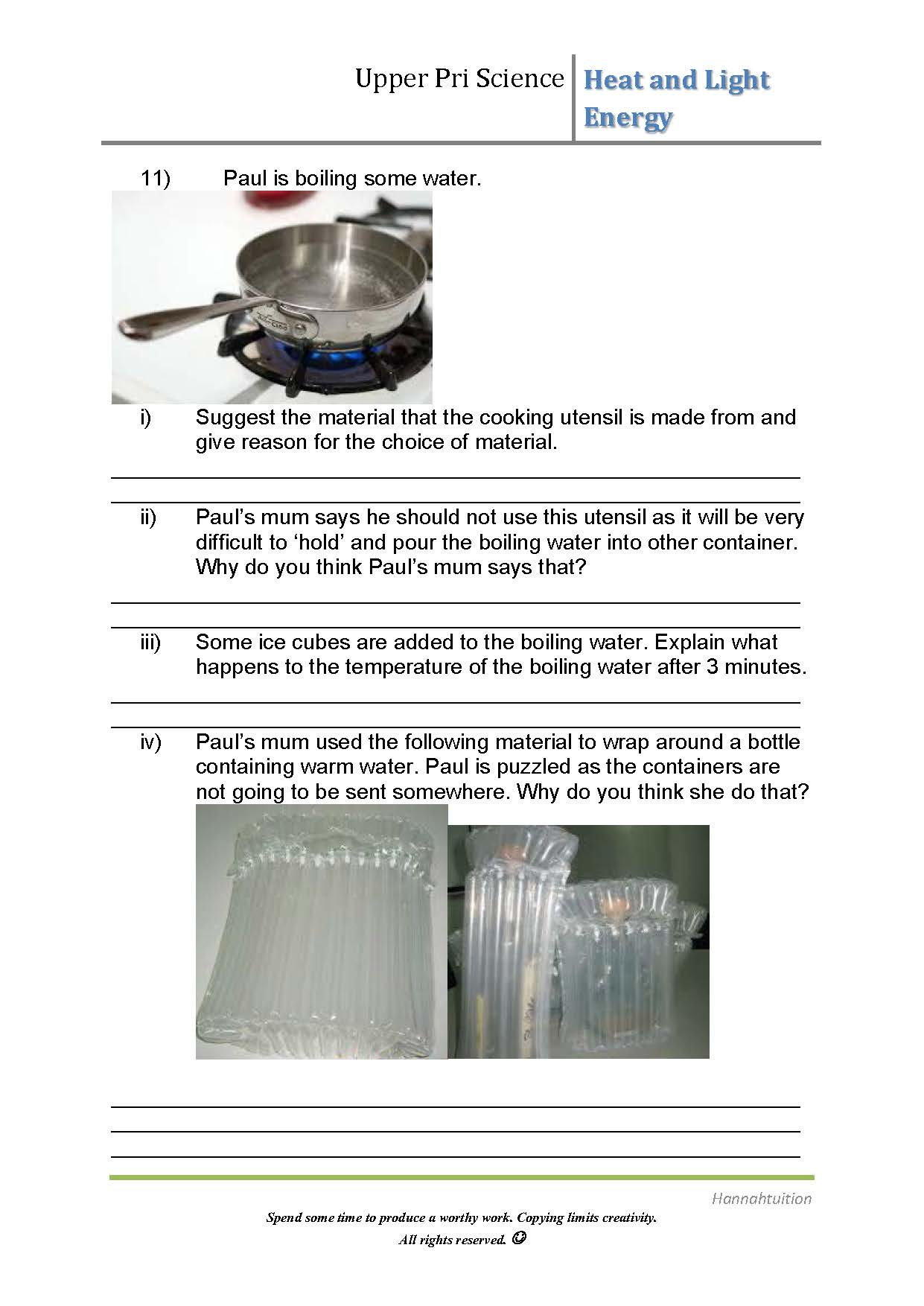 Psle Science Heat And Light Energy