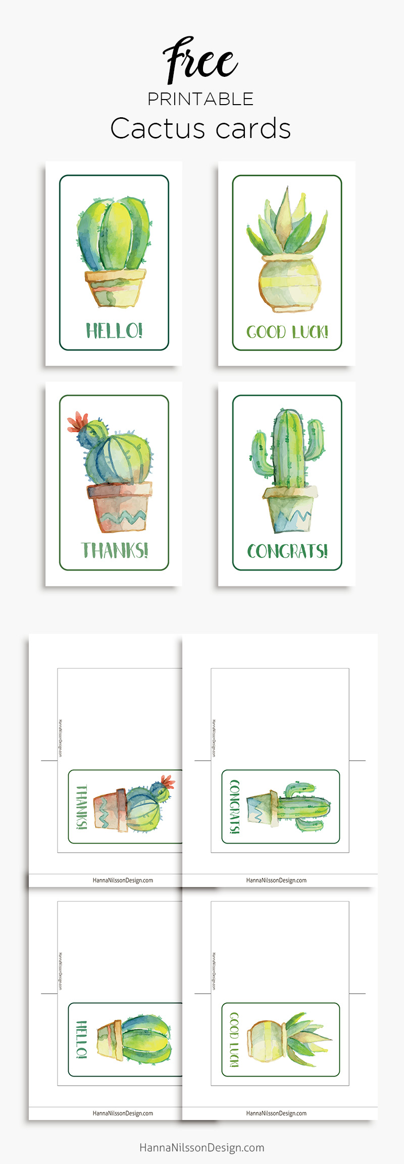 image about Printable Good Luck Cards identify Printable cactus playing cards Wonderful luck! Good day! Owing! Congrats