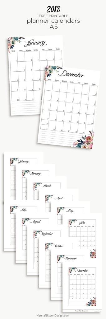 Free Yearly Calendar Hanna Nilsson Design