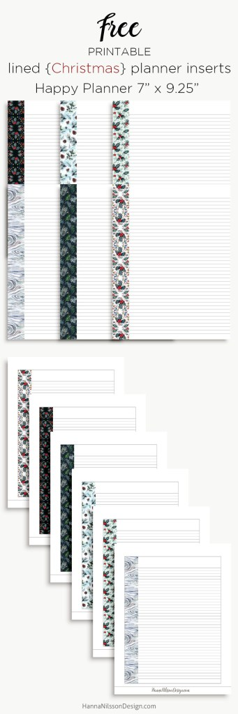 Christmas planner lined inserts | Happy planner, A5 and