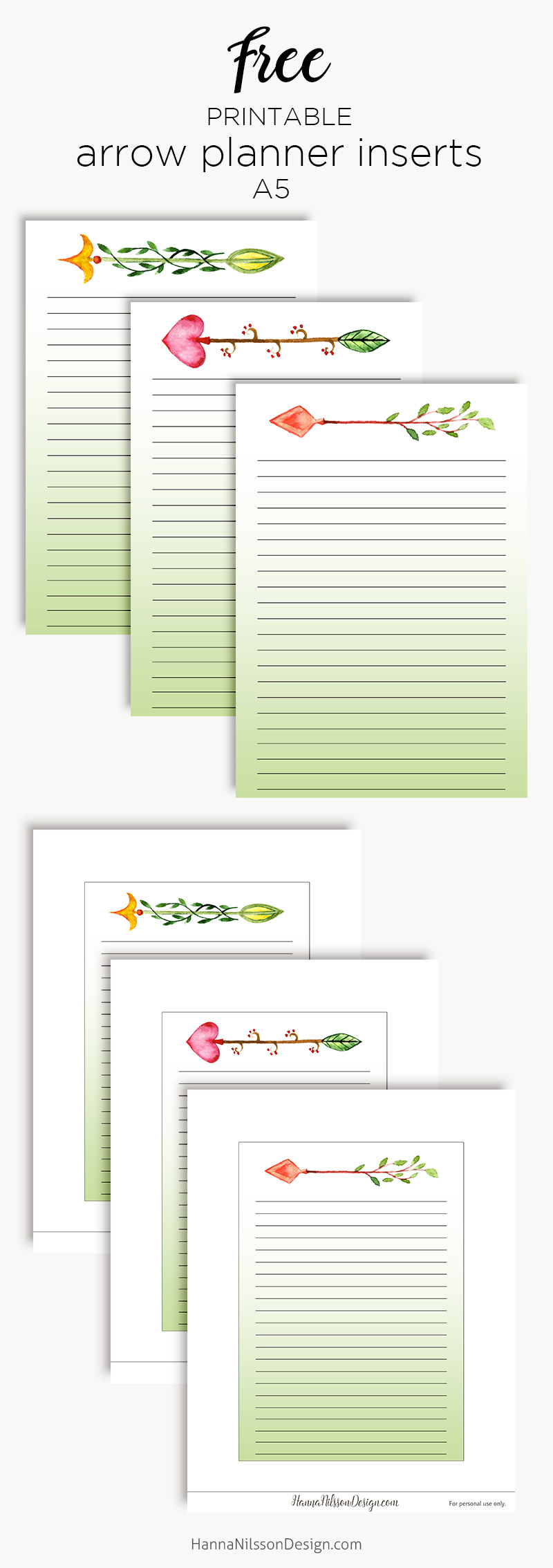 picture regarding Printable Arrow called Arrow planner inserts Protected planner printable Hanna