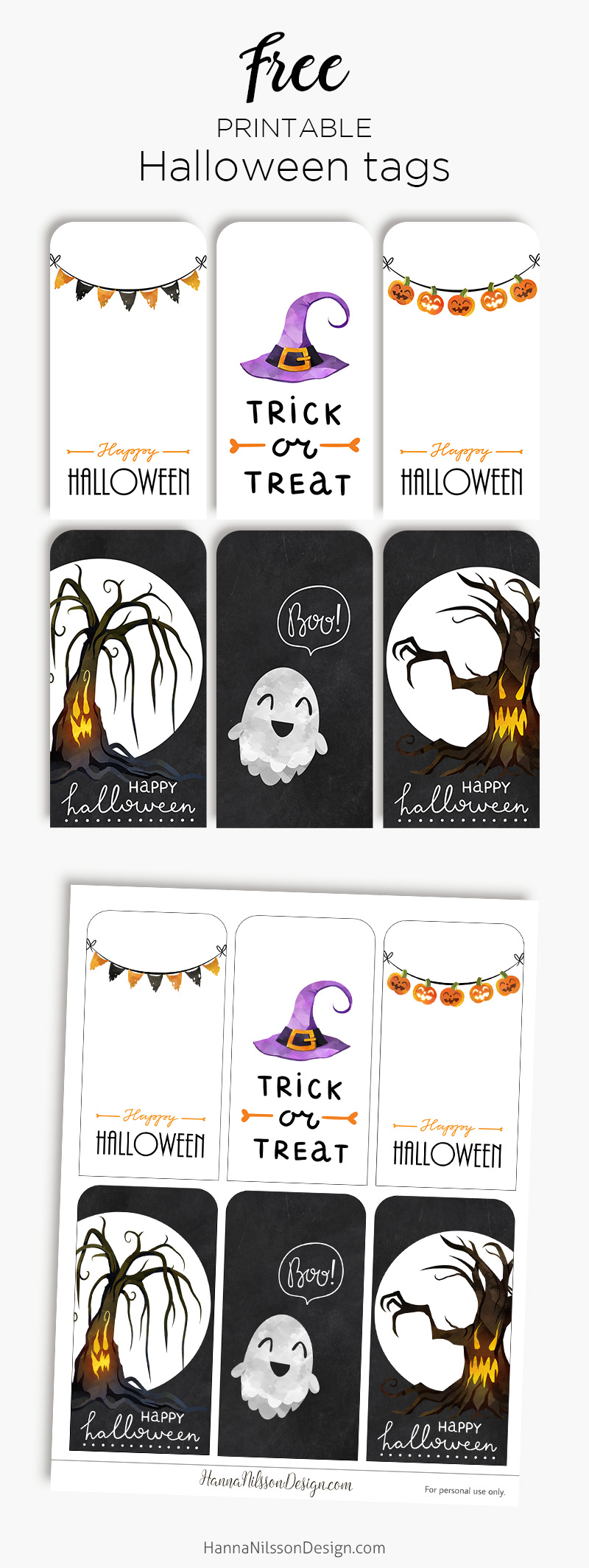 photograph regarding Cute Gift Tags Printable named Delighted Halloween tags Totally free printable creepy adorable