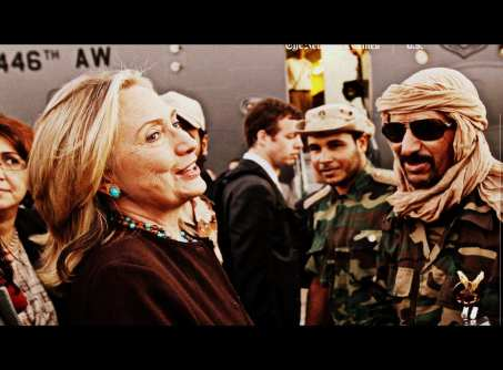 Hillary Clinton with Libyan comrades-in-arms