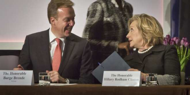 Hillary Clinton visiting Norway, surrounded by scandals: Pay for Play at Clinton Foundation, Herland Report