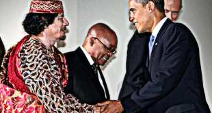 Gaddafi Obama Zuma AP Herland Report Libya