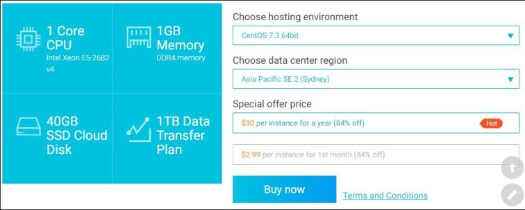 Alibaba Cloud ECS SSD Cloud Server US30 per year