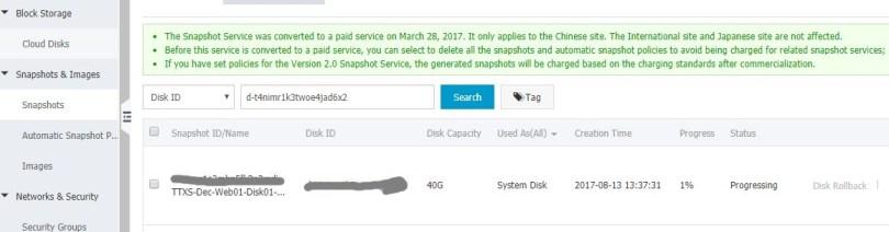Manage Alicloud ECS Instance Create Snapshot In Progress