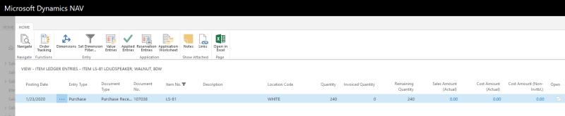 A screenshot of Item Ledger Entries in Microsoft Dynamics NAV 2018