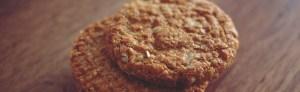 Stack of freshly baked oat cookies for dessert