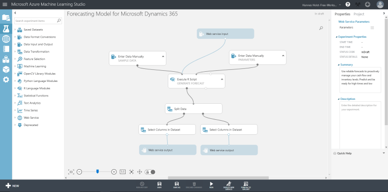 Example of the dashboard of Azure Machine Learning.