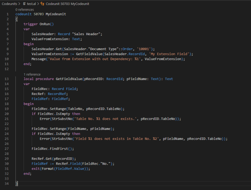 Example code how to use RecordRef & FieldRef to avoid a dependency.