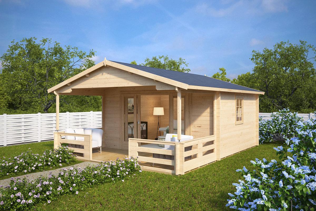 Holz-Gartenhaus Mit Schiebetür Franz 15M² / 44Mm / 4X5 - Hansagarten24