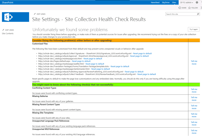 Site Collection Health Check Results
