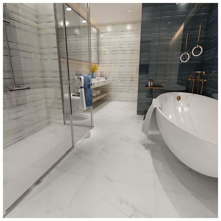 white polished porcelain floor tile