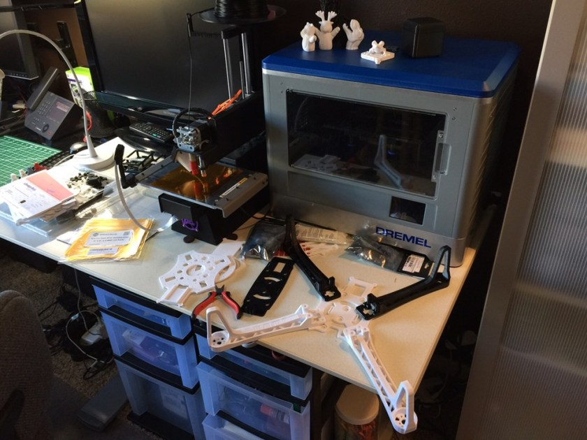 A Dremel 3D Printer printing a Quadcopter