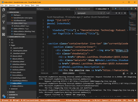 Visual Studio Code editing my new ASP.NET Core site using Razor Pages