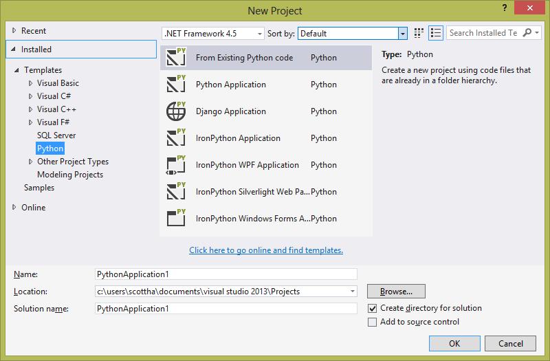 Python in Visual Studio 2013