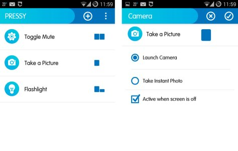 Twee screendumps van de Pressy app: links drie verschillende drukknopacties, rechts de instelling van de Camera app-actie.
