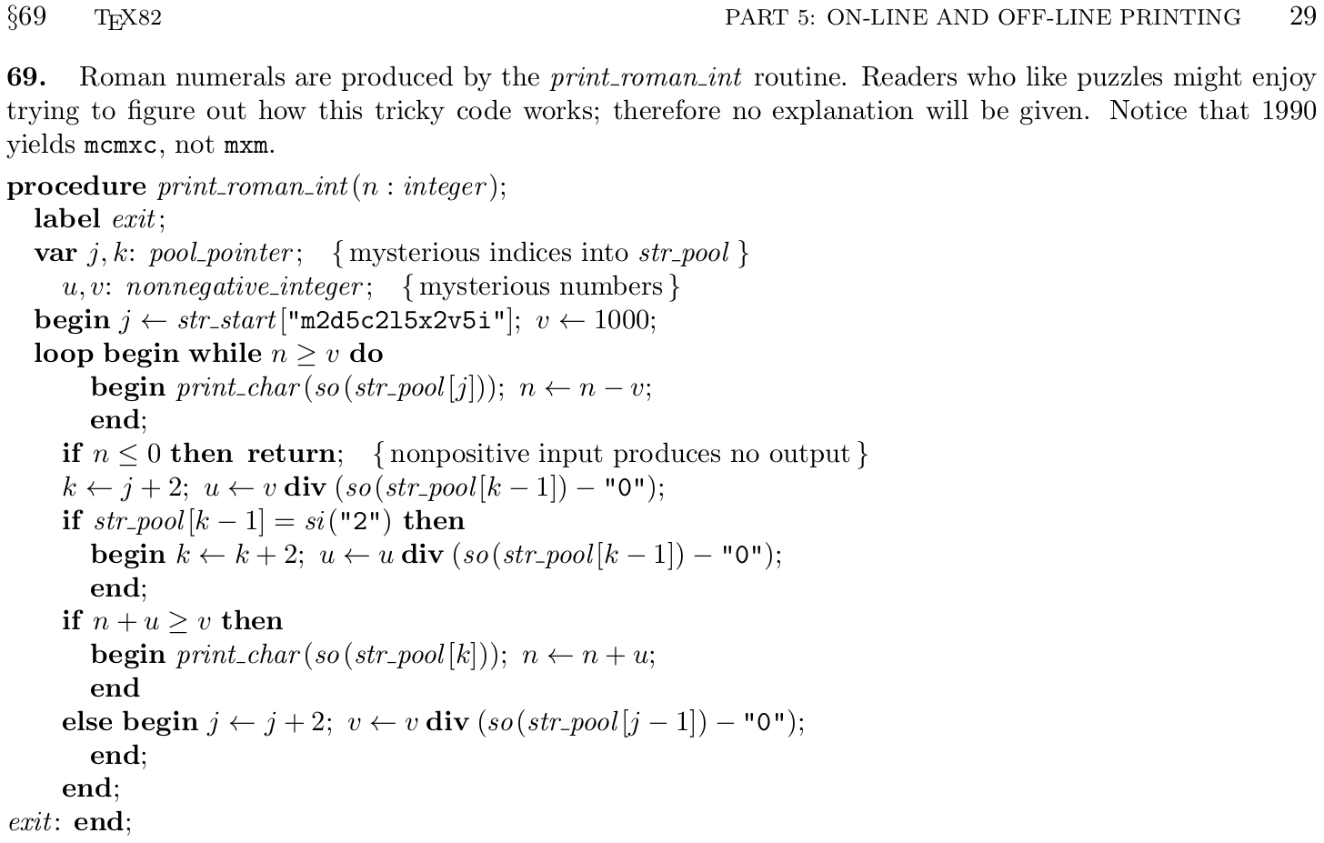 Algorithms For Roman Numerals