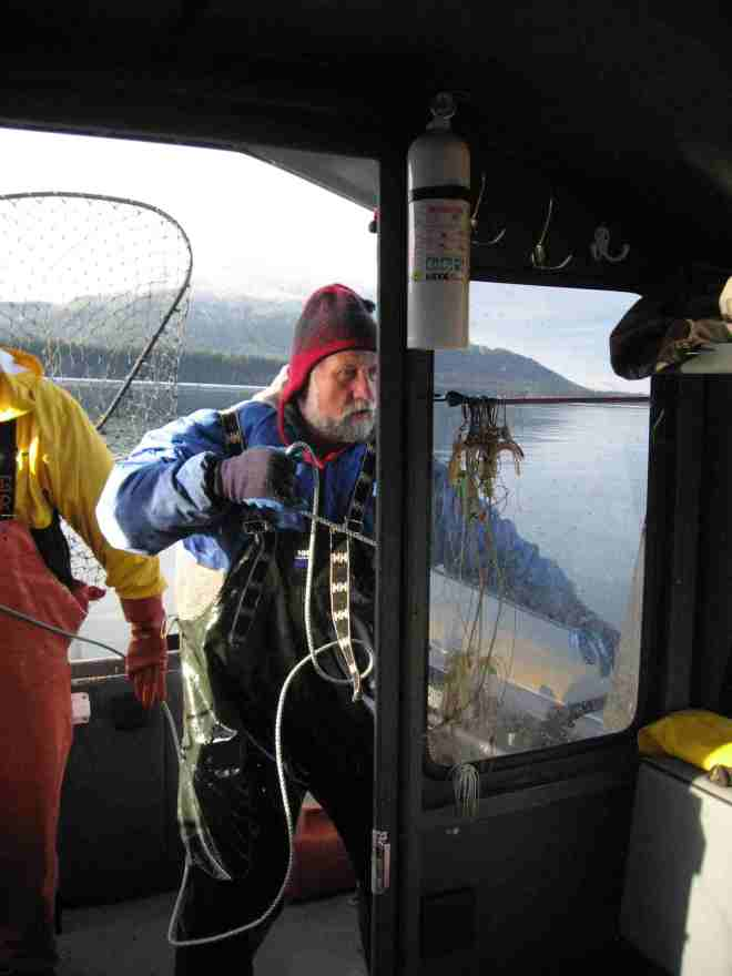 Bill Hanson hauling crab, Southeast Alaska