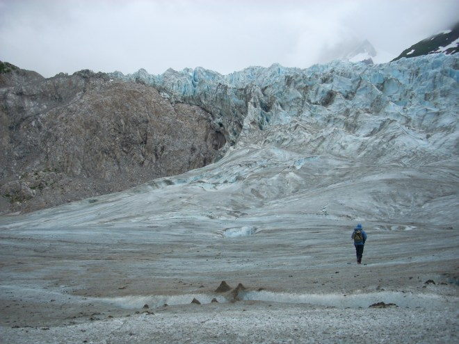 Kate Troll hiking on glacier-Alsek River, Alaska