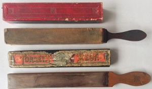 Billy Hanson's leather strops for sharpening straight-razor.