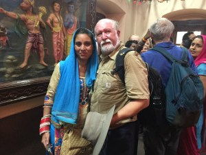 Bill Hanson trades photos with young woman at temple -Shimla, India