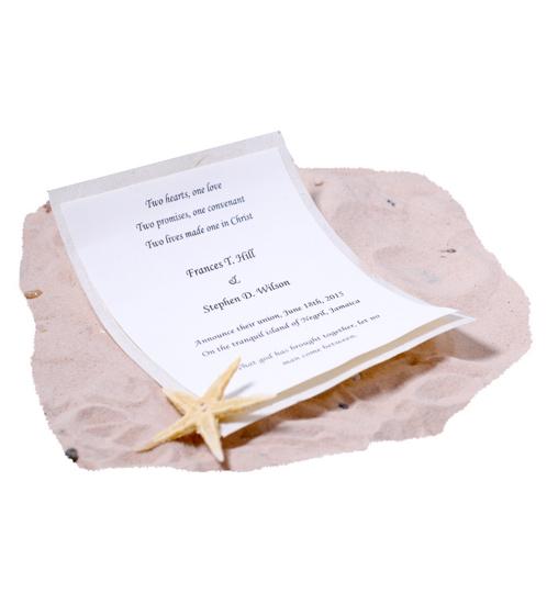 wedding beach invitation scroll