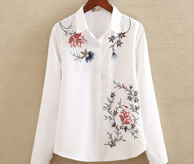 Nvyou Gou Floral Embroidered Blouse Shirt Women Slim White Tops Long Sleeve