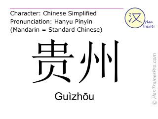 English translation of 貴州 ( Guizhou / Guìzhōu ) - Guizhou in Chinese