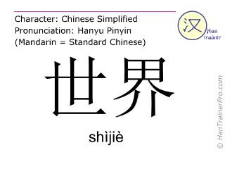 English translation of 世界 ( shijie / shìjiè ) - world in Chinese
