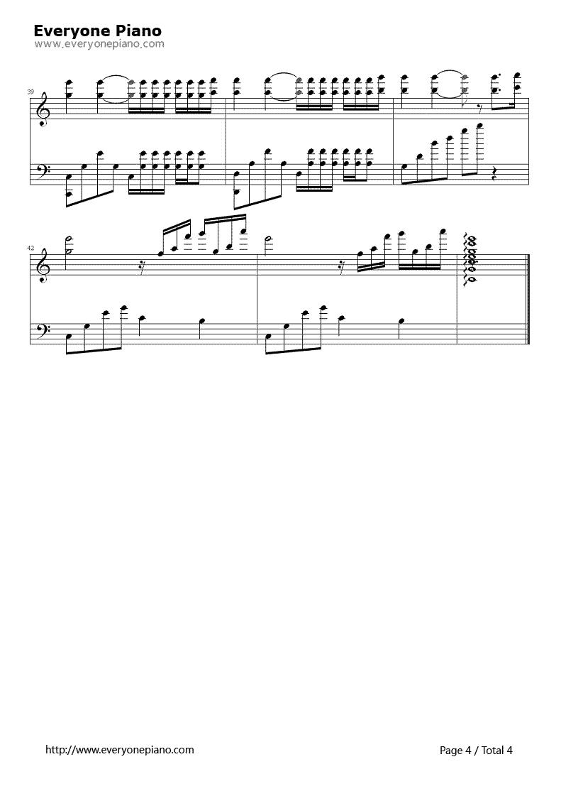 《水邊的阿狄麗娜》(Ballade for Adeline演唱)鋼琴譜第4張