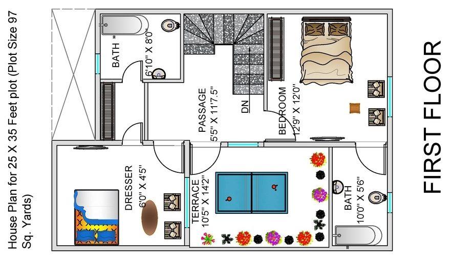 1BHK Floor Plan for 25 x 35 Feet plot 873 Square Feet
