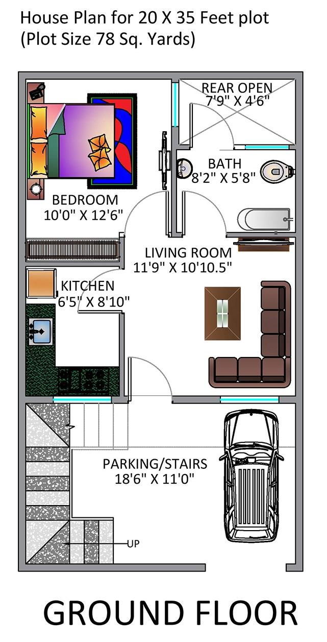 1BHK Floor Plan for 20 x 35 Feet plot 700 Square Feet