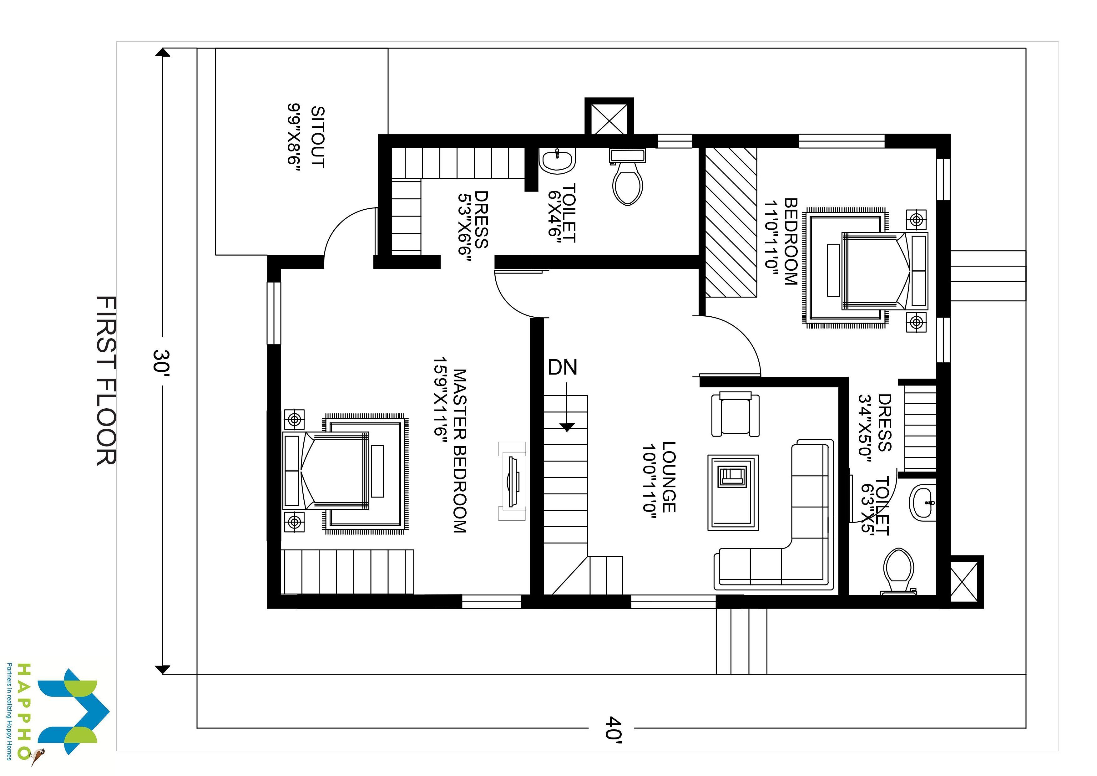 3BHK Floor Plan for 30 X 40 Plot 1200 Square Feet134 SquareYards  Happho