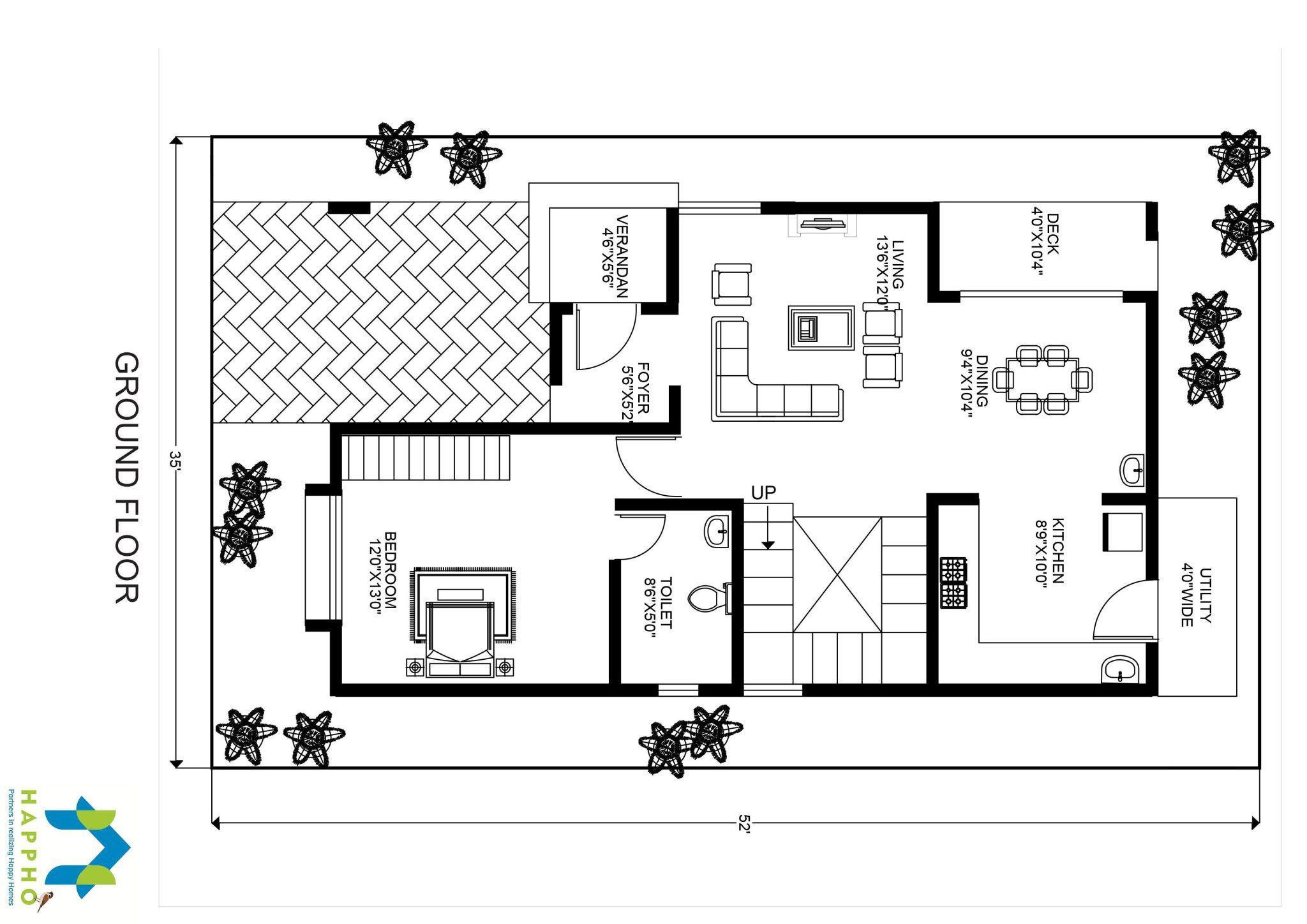1BHK Floor Plan for 30 X 50 Plot 1500 Square Feet167 SquareYards5  Happho